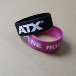 Extra wide silicone wristbands (25mm) with custom artwork image